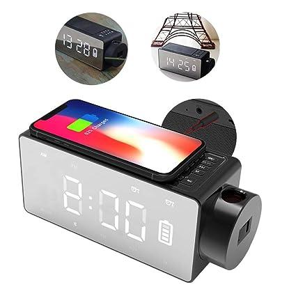 HEDDK LED Reloj Despertador Altavoz Bluetooth Carga Inalámbrica Teléfono Digital Pantalla Grande Proyección Reloj Posponer FM