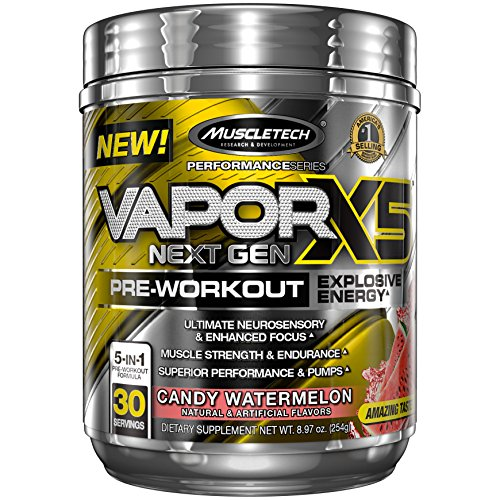 MuscleTech Vapor X5 Next Gen Pre Workout Powder, Explosive Energy Supplement, Candy Watermelon, 30 Servings (9.6oz)