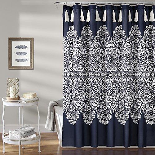Lush Decor Boho Medallion Shower Curtain-Fabric Bohemian Damask Print Design with Tassels, 72