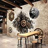 300cmX250cm Retro industrial metal gear 3D Wallpaper Bar Cafe background wall clock bedroom clothing store wallpaper mural