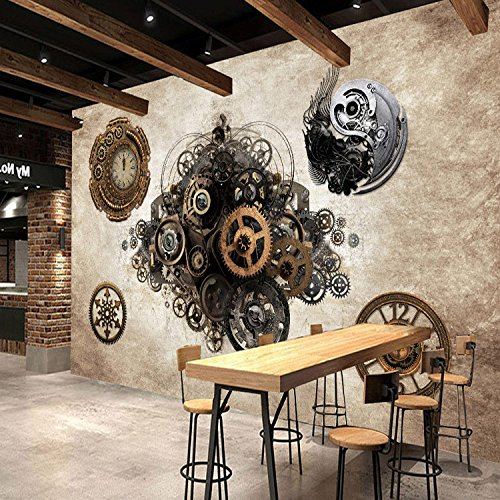 300cmX250cm Retro Industrial Metal Gear 3D Wallpaper Bar Cafe Background Wall Clock Bedroom Clothing Store