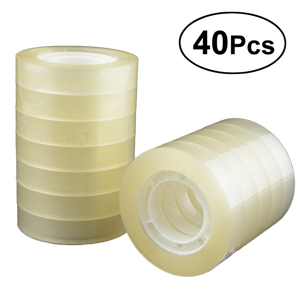 TOYMYTOY 40 Rolls Transparent Tape Clear Packing Tape for Office Home Use School Stationery,7/10 inch by TOYMYTOY (Image #1)