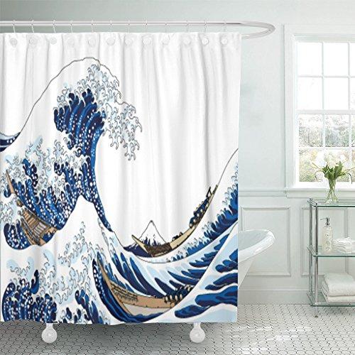 Emvency Shower Curtain Curtainswhite Japanese Big Wave Japan Hokusai Ocean Fuji Vintage Mountain Mount 72