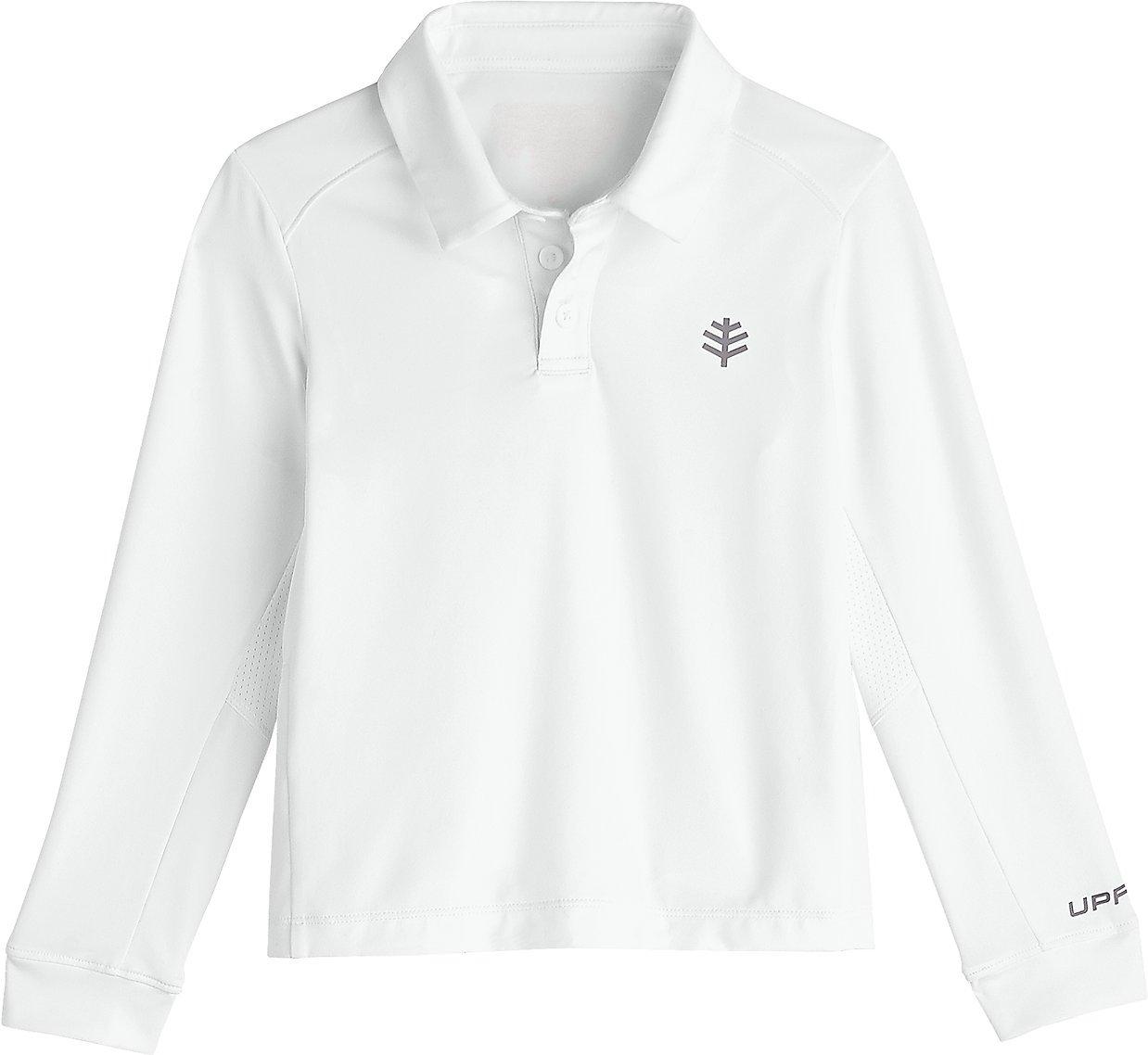 Coolibar UPF 50+ Boys' Long Sleeve Performance Polo - Sun Protective (Medium- White)