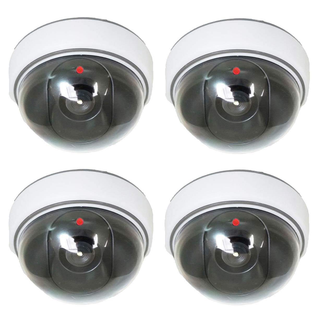 Dummy Dome Security Surveillance Camera - 4 Packs Fake Waterproof Outdoor Indoor Hemisphere Type Camera Equipment With Red Flashing LED Light(White) by ToThere