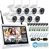 Jennov 8 CH 1080P CCTV Wireless Security Camera System IP Bullet Wifi Cameras For Home Outdoor Indoor 12'' LCD HD Monitor 2.0 Megapixel Day Night Vision Video Surveillance (No Hard Drive)