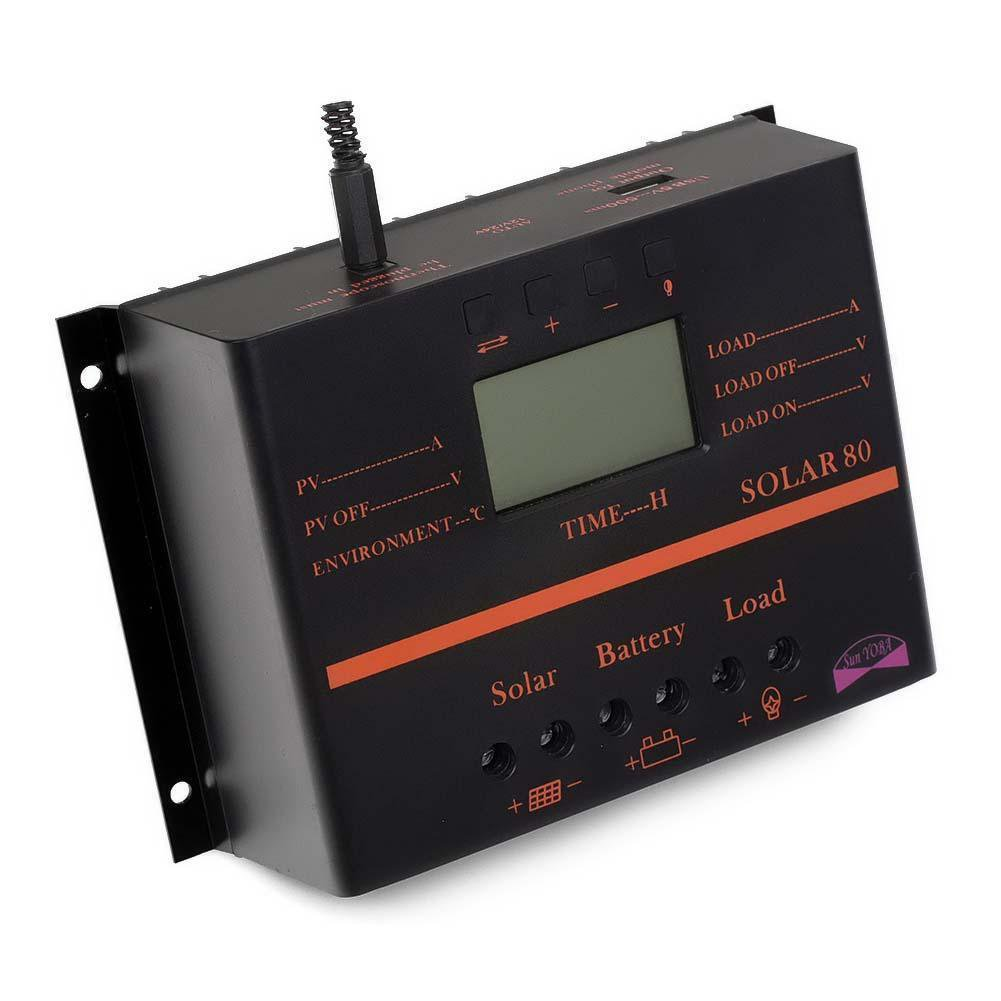 SODIAL(R) 80A PWM Solar Panel Charge Controller 960W/1920W + Extension Cable