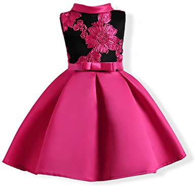 Oukaiyi Baby Girl Dress Party Wedding Flower Dresses Sleeve Gowns(Hot Pink  2-3Y 6dc11513166b