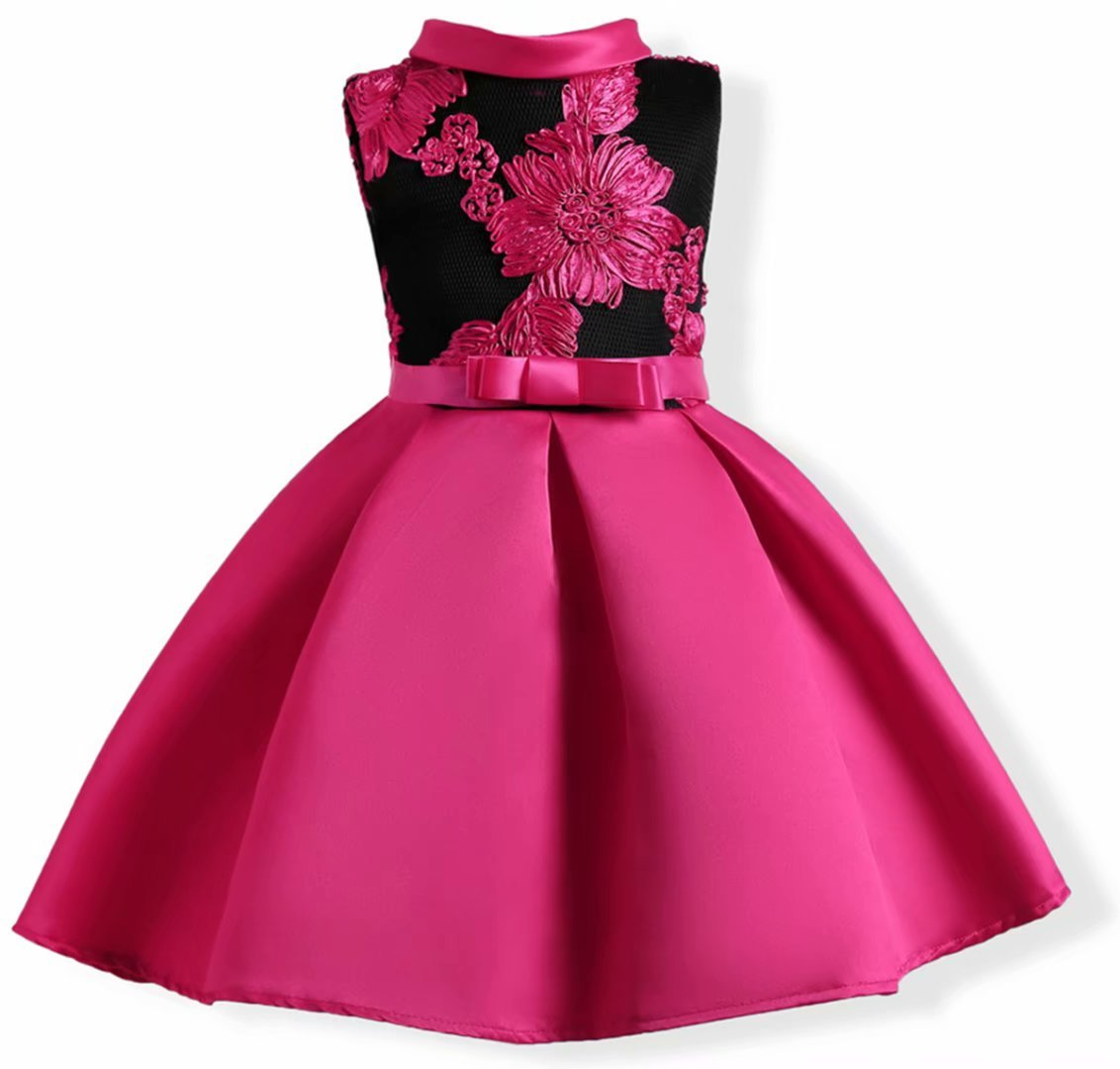 AYOMIS Flower Girl Pageant Dress Kids Party Embroidery Wedding Dresses 2-9 Years(Hot Pink,3-4Y)