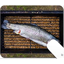 Luxlady Gaming Mousepad 9.25in X 7.25in IMAGE: 26076141 Fresh trout fish ready to be cooked on fireplace