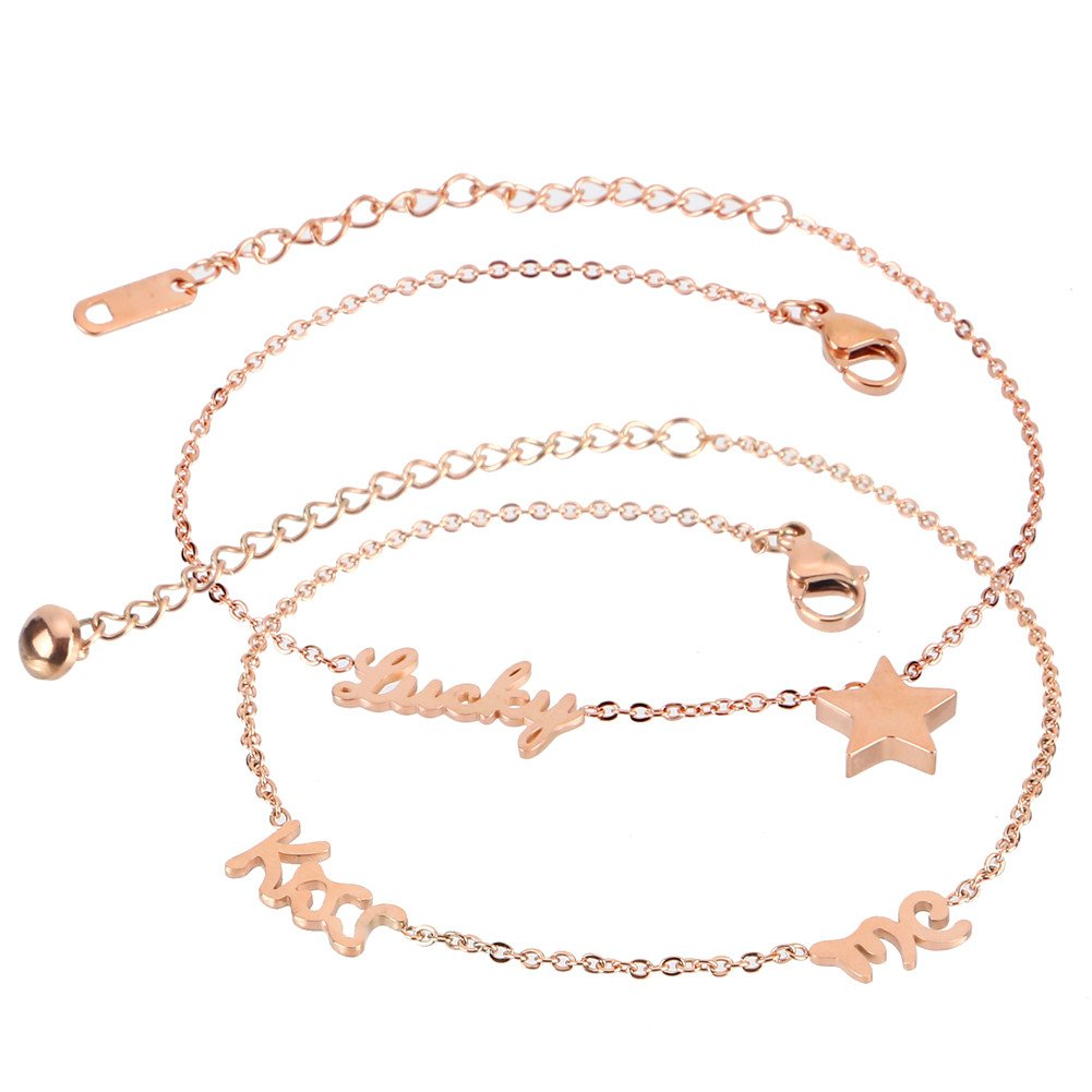 XIAOLI 2 Pcs Starfish Turquoise Ankle Beach Wedding Barefoot Sandals Bracelet Anklets (Stainless steel anklet 2Pcs)
