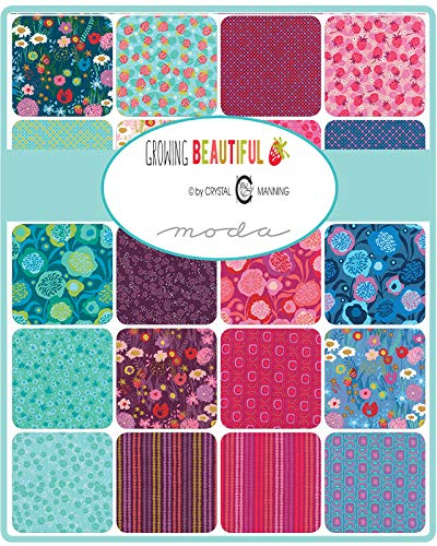 Moda Growing Beautiful Precut 5-inch Cotton Fabric Quilting Squares Charm Pack Assortment Crystal Manning ()