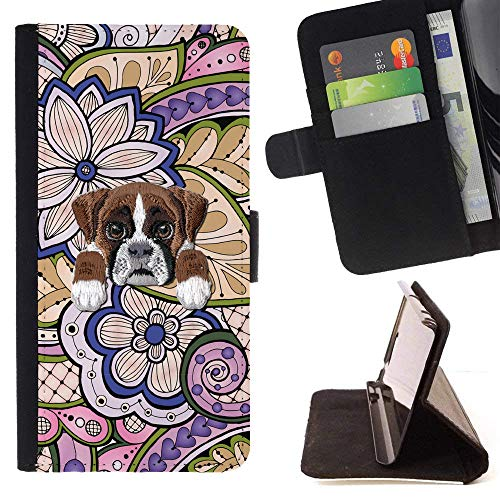 Indian Boxers ([ Boxer Dog ] Embroidered Cute Dog Puppy Leather Wallet Case for HTC U11 [ Retro Indian Floral Pattern ])
