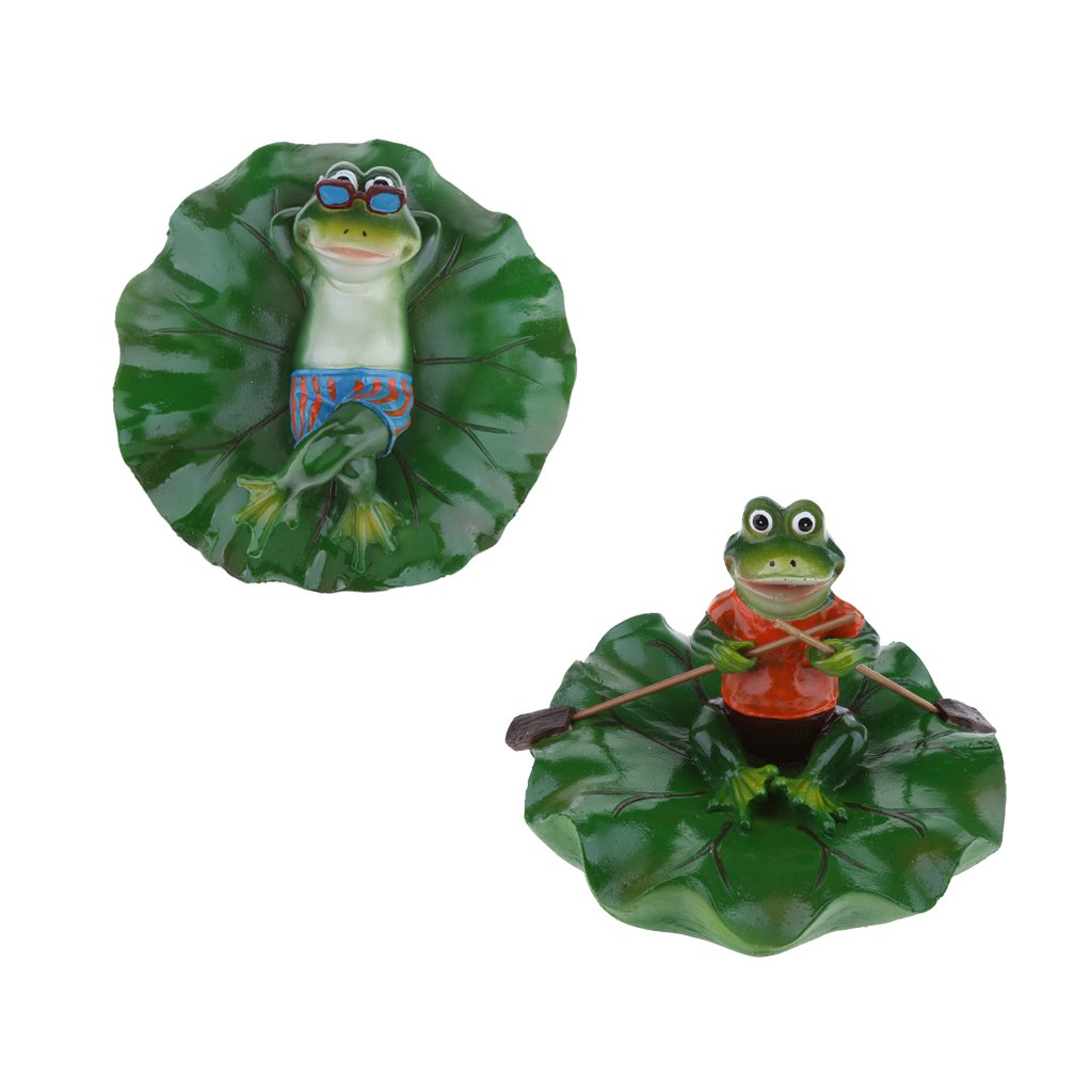 D DOLITY 2x Creative Animal Ornament Water Floating Rowing & Lying Frog on Lotus Leaf Figurine Resin Green Plants Kid Toys Fountain Decoration Garden Decor