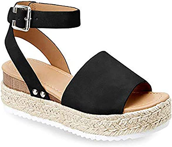 Ermonn Womens Platform Espadrilles Cross Strap Open Toe Slip On Summer Slide Sandals Flat Shoes
