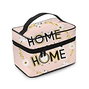 ArtSocket Travel Makeup Train Case Cosmetic Bags Organizer Home Sweet Cute Birds Floral Portable for Women Girls