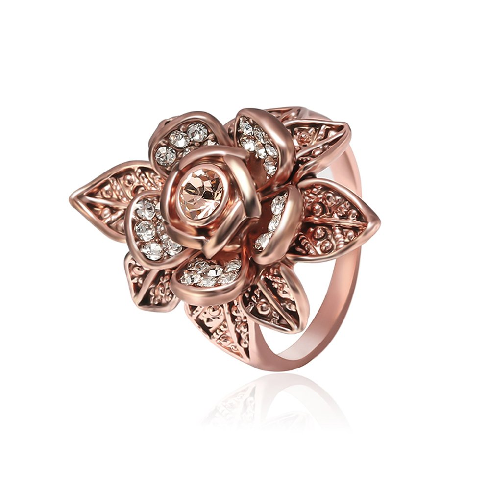 Teniu Rose Gold Micro Diamend Ring Flower Ring Finger Ring Female Retro Fashion Jewelry,size:7