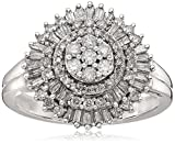 10k White Gold Diamond Cluster Ring (3/4 cttw), Size 7