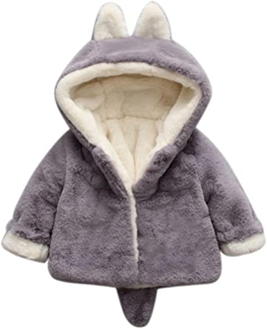 Veste de Chapeau Koly Doux Peluche Dande à Veste Bébé de Coton Hiver Lapin Manteau Fille avec Oreilles en en Epais Capuchon Chaud 3D Enfant jSGMVUpqzL