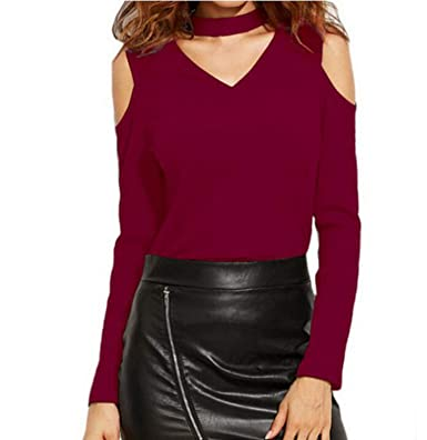 7bdcf199d3 Fashion Women Sexy Tops Long Sleeve Knitted Sweater V-Neck Strapless Hot  Tops Women Sweater at Amazon Women s Clothing store