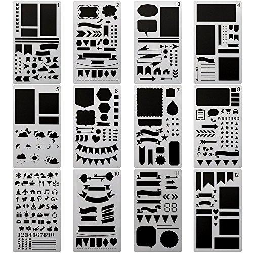 Scrapbook Design Templates (Bullet Journal Stencil,12 Pieces 4x7Inch Plastic Planner Stencils Different Design for Journal / Notebook /Diary /Scrapbook DIY Drawing Template Stencil,White)