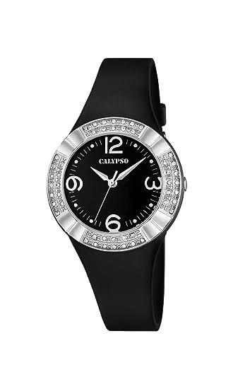 Calypso - Reloj de Mujer de Cuarzo con Negro Esfera analógica Pantalla y Correa de plástico en Color Negro K5659/4: Amazon.es: Relojes