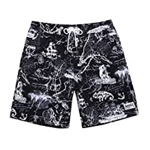ME-JUCA Mens Swim Trunks With Pocket High Printed Board Shorts