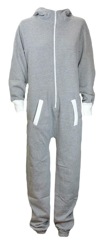 Womens Plain Hodded Zip Onsie Playsuit (XXXXXL, Grey)