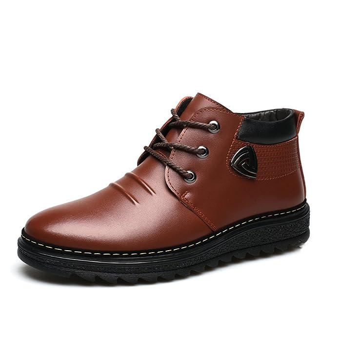 Mens Casual Snow Boots - Winter Warm Lace Up Plus Velvet Shoes (Brown)