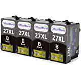 OfficeWorld Replacement for Epson 27 27XL Black Ink Cartridges High Capacity Compatible for Epson WorkForce WF-3620DWF WF-7610DWF WF-3640DTWF WF-7110DTW WF-7620DTWF, Pack of 4