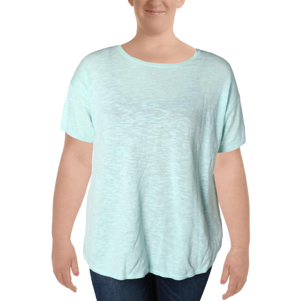 Eileen Fisher Womens Plus Organic Linen Knit Top Green 1X
