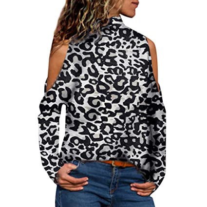 47bed04544e9d Amazon.com  Women Tops Sexy High-Neck Off Shoulder Leopard Print Long Sleeve  Autumn Winter Fashion Casual Blouse Tops Shirt  Toys   Games