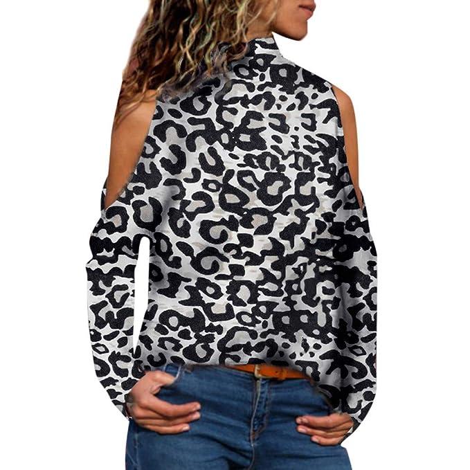 Malloom Blusas Mujer Elegante Leopardo Ropa de Mujer en Oferta Hombro Frío Camisas Casual Tops de Fiesta Manga Larga Camisetas T Shirt Sudaderas Suelta ...