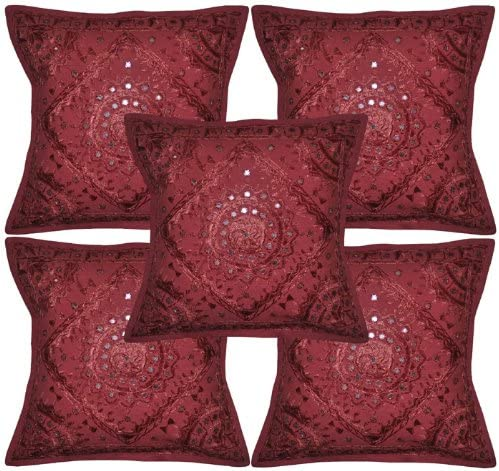 Bedroom Pillows Assorted Set of 5 Mirror Work Embroidered Dining Chair Pillows Bohemian Square Floor Cushion Covers for Sofa Couch ON SALE