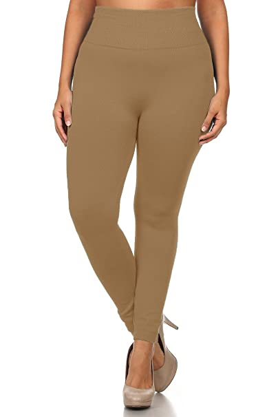 72a74c77086a5 World of Leggings Plus Size High Waisted Fleece Lined Legging - Beige