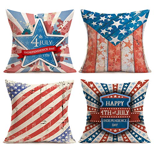 Asamour Patriotic USA American Flag Throw Pillow Covers Happy 4th of July Independence Day Inspired Quote Decorative Cotton Linen Cushion Cover 18''x18'' Square Pillow Cases Set of 4,Stars and Stripes