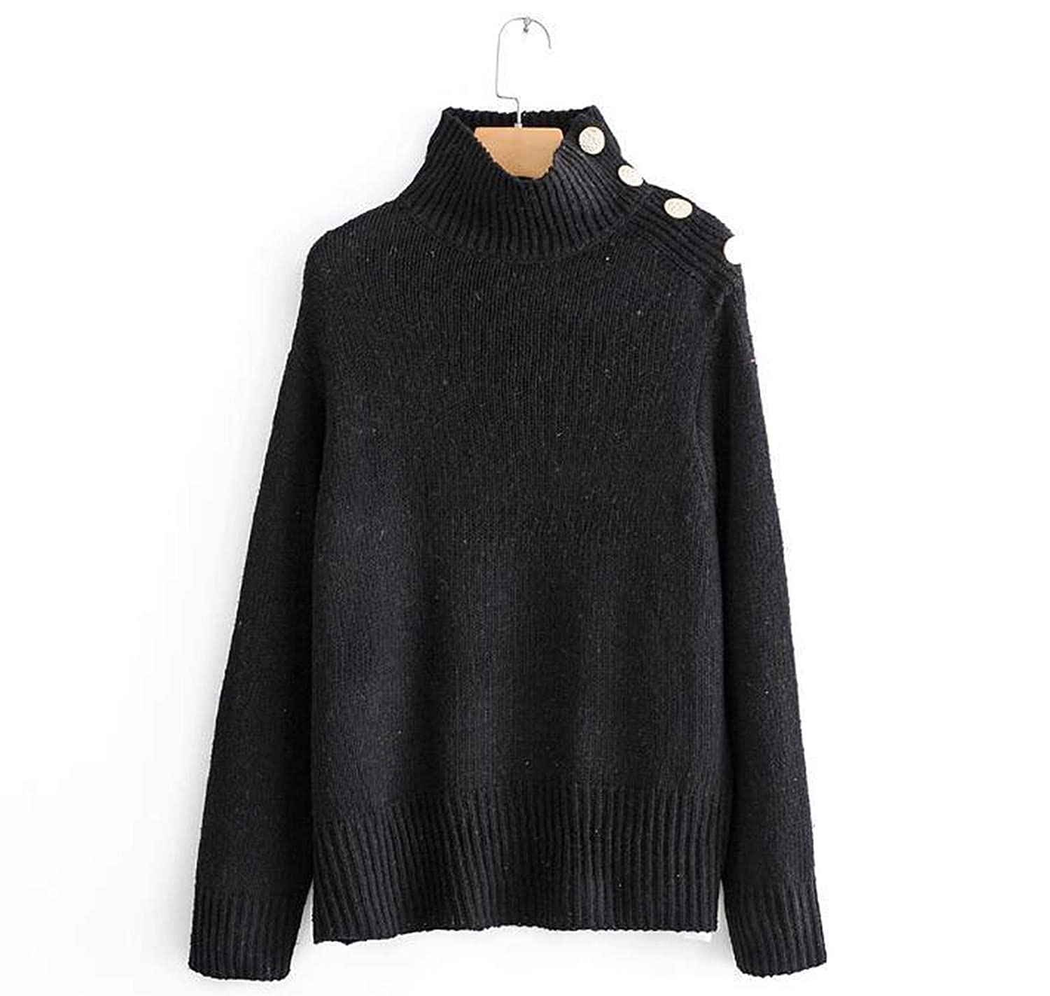 The small cat Winter Women Turtleneck Knit Sweater Buttons Decor Loose Knit Pullovers Pull Femme Casaco Feminino