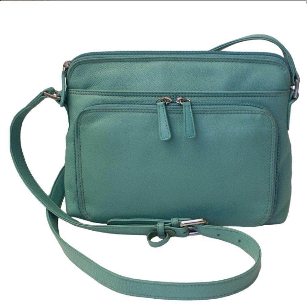 ili New York 6333 Leather Shoulder Handbag with Side Organizer (Turquoise)
