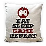 Yohoba Eat Sleep Game Repeat Cushion Cover Gaming Pillowcase Case 18'' x 18''