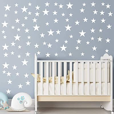 Multi Size Stars Pattern DIY Wall Stickers Removable Home Decoration Starts Wall adesivo Baby Kids Nursery Bedroom Wall Decor Stickers YYU-10 (White): Home & Kitchen