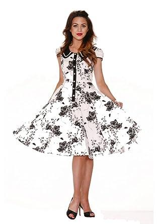 H & R London Floral 1950s Swing Pinup Dress White Black