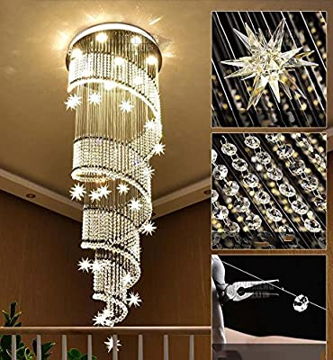 Modern Double Spiral Staircase Pendant Lamp K9 Crystal Chandelier Staircase Long Chandelier Villa Building Floor Living Room LED Large Chandelier ( Size : 40cm1.2m )