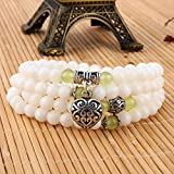 Yosoo 108 Tridacna Buddhist Meditation Prayer Bead Mala Necklace Bracelet (green)