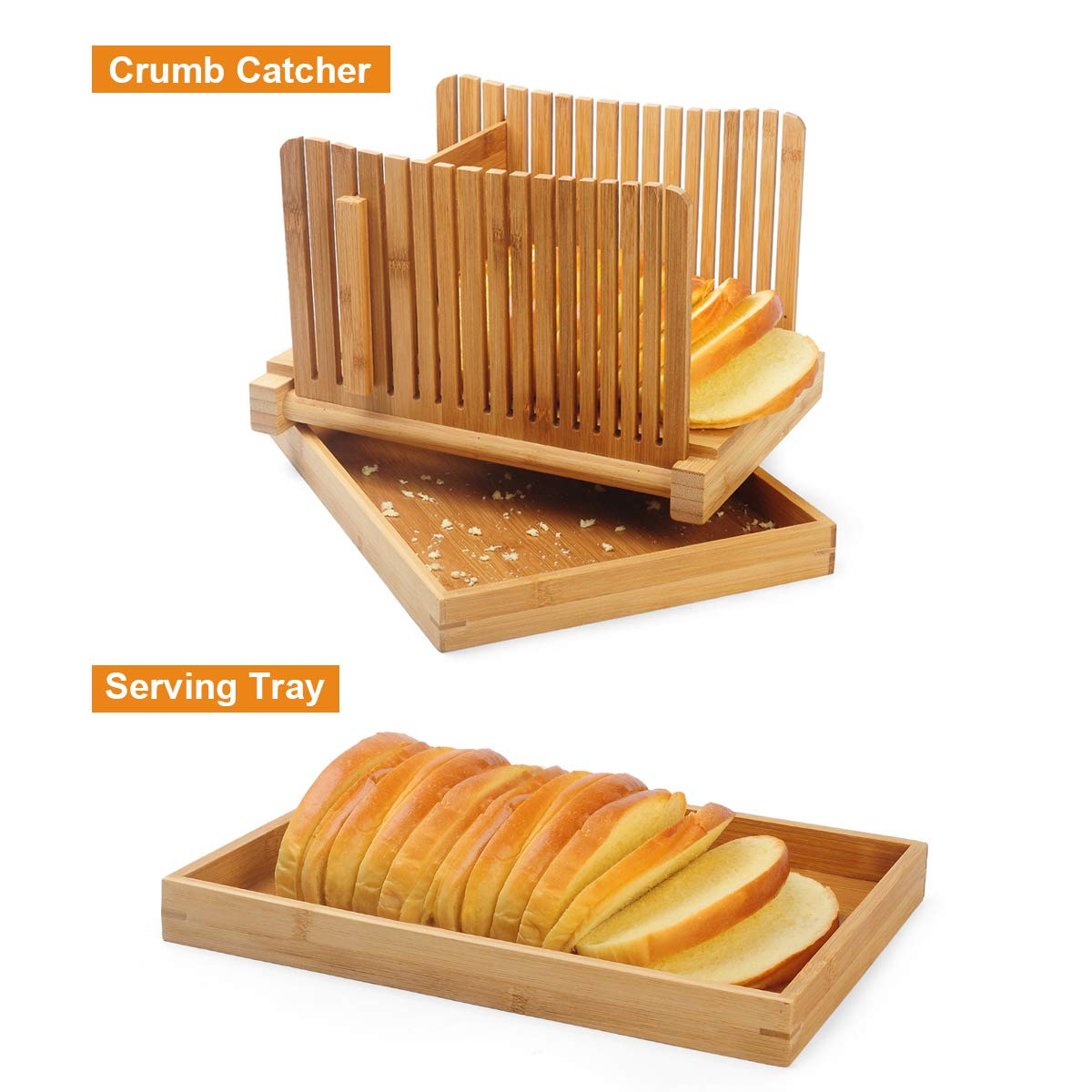 AKUNSZ Bamboo Bread Slicer Guide with Crumb Catcher, Adjustable Bread Loaf Slicer Foldable Bread Cutter Slicer - Thickness Adjustable 1/4'',3/8'',1/2''(Assembled Size 5.5''x9.3''x7'') by AKUNSZ (Image #4)