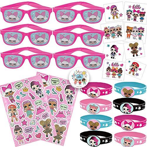 LOL Surprise Birthday Party Favors Pack de suministros para 12 invitados con gafas LOL, tatuajes, pegatinas, pulseras y alfileres de cumpleaños de Another Dream