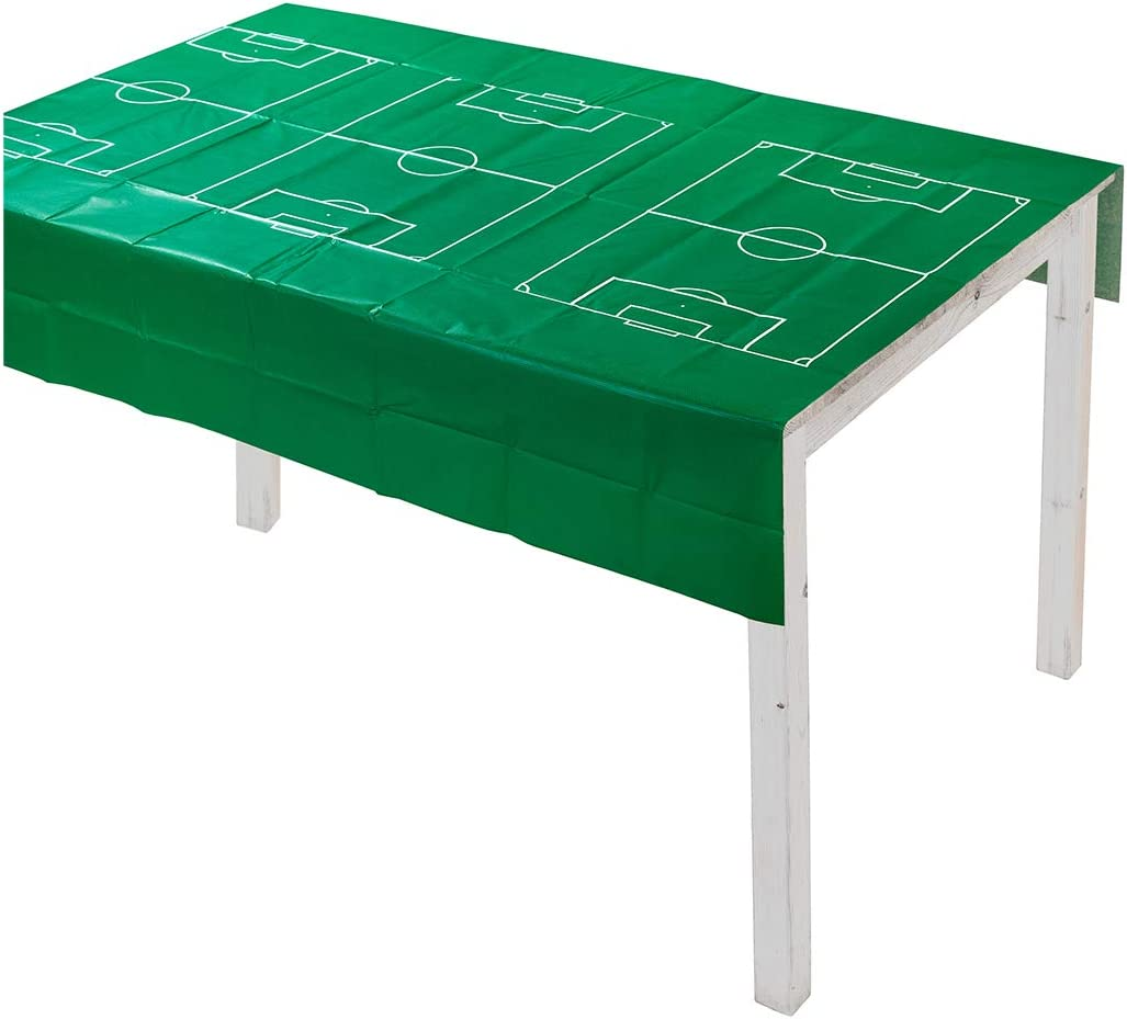 Talking Tables Sports Champion Soccer Party Decorations Soccer Field Table Cover Tablecloth, 180cm x 120cm, Green