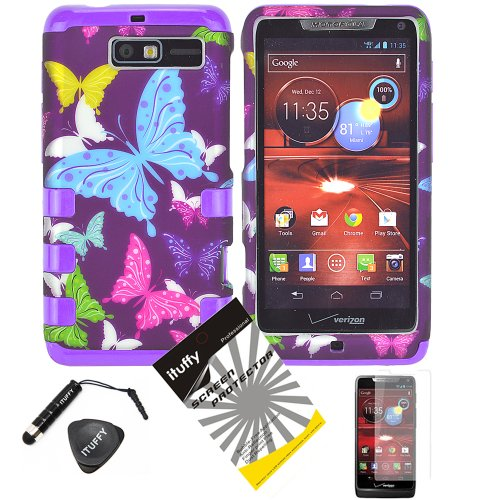 4 items Combo: ITUFFY(TM) LCD Screen Protector Film + Stylus Pen + Case Opener + Purple Pink Green Yellow Blue Multi Color Butterfly Design Rubberized Hard Plastic + Soft Rubber TPU Skin Dual Layer Tough Hybrid Case for Motorola Droid RAZR M XT907 and Motorola Luge 4G LTE phone model only!