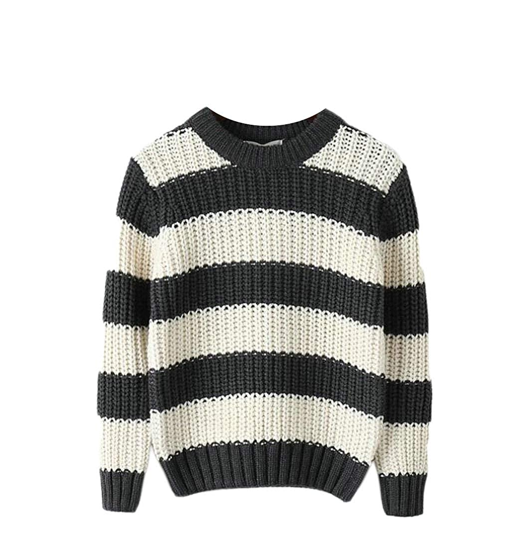 JSY Boys Fashion Slim Striped Knitted Cute Pullover Sweater