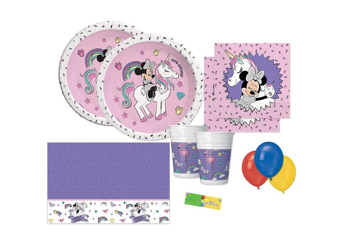 DECORATA PARTY Minnie Unicorn Coordinato Compleanno Kit n 4