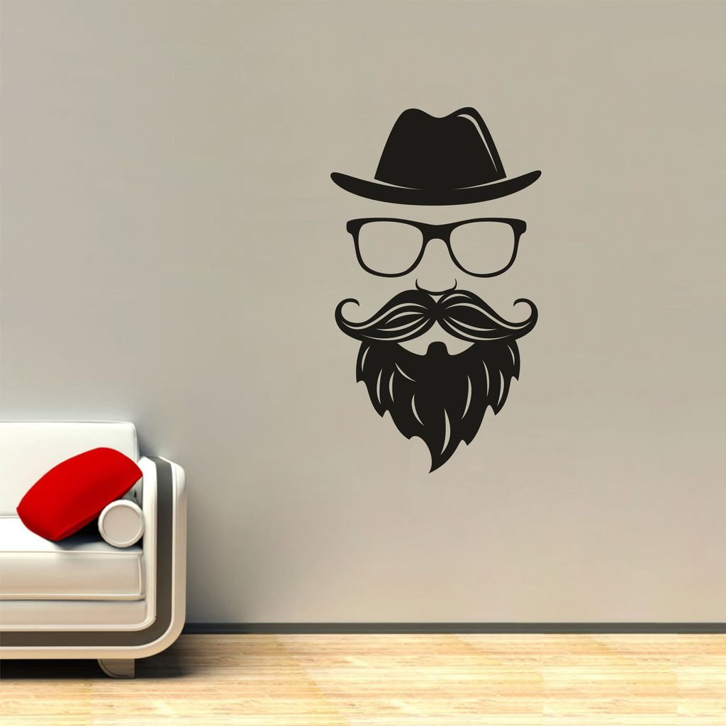 Buy decor kafe hat and beard wall sticker vinyl 97 cm x 54 99 cm x 0 99 cm black online at low prices in india amazon in